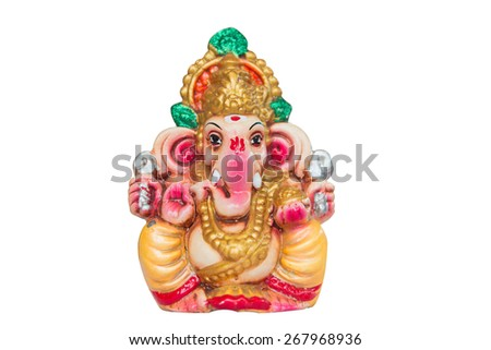 idol of Hindu god Ganesha on white background