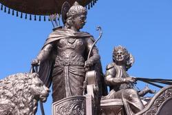 Idol of Krishna and Arjuna on Chariot during Mahabharata