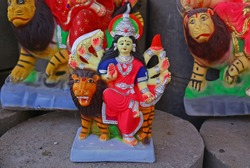 Idols of Hindu Goddess Durga for Durga Puja festival, which commemorates the slaying of the demon king Mahishasur by the goddess Durga, marks the triumph of good over evil.