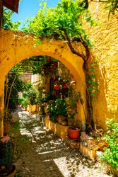 Idyllic alley in the old town of City of Rhodes, Rhodes Island, Mediterranean Sea, Greece
