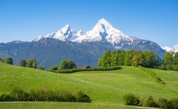 Idyllic alpine landscape scenery with traditional farmhouse and fresh green meadows, blooming flowers, and snowcapped mountain tops in spring, Nationalpark Berchtesgadener Land, Bavaria, Germany