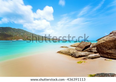 Idyllic beach at Magens Bay, Saint Thomas, US Virgin Islands. This beach is considered one of the best top ten beaches in the world. Paradise and clear water for relaxation. Idyllic spot.