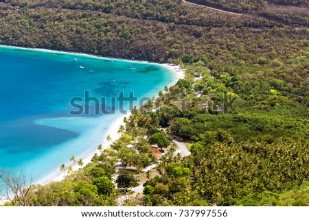 Idyllic beach at Magens Bay, Saint Thomas, US Virgin Islands. This beach is considered one of the best top ten beaches in the world. Paradise and clear water for relaxation.