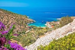 Idyllic beach in hidden cove of Dubovica on Hvar island view, Dalmatia archipelago of Croatia
