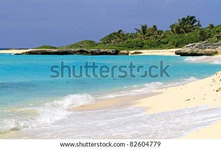 Idyllic beach of Caribbean Sea in Mexico