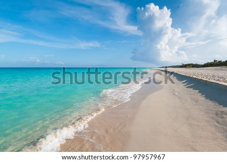 Idyllic beach of Caribbean Sea in Playacar, Mexico