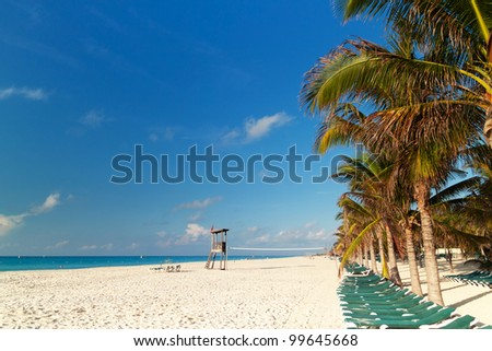 Idyllic beach of Caribbean Sea in Playacar - Mexico
