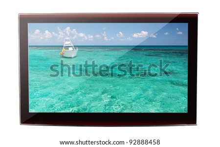 Idyllic Caribbean scenery on the flat TV display
