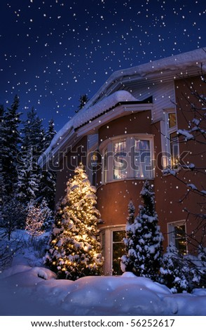 Idyllic Christmas time house in blue winter evening moment