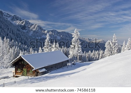 Idyllic cottage in winter