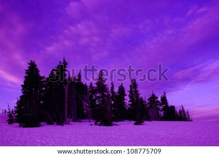 idyllic dusk in mountains