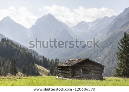 Idyllic hay hut in the Lesach Valley in the High Tauern