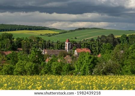 Idyllic landscape view on Moravian village Brankovice from Czech Republic Photo stock ©