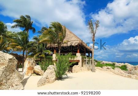 Idyllic mexican coast scenery at Caribbean Sea