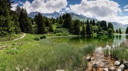 idyllic mountain lake landscape in the Swiss Alps
