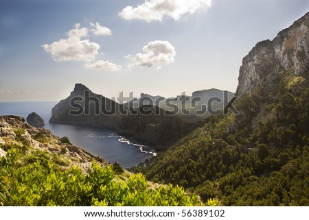 Idyllic mountain view with ocean cost