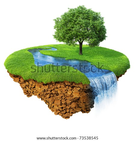 Idyllic natural landscape. Lawn with river, waterfall and one tree. Fancy island in the air isolated. Detailed ground in the base. Concept of success and happiness, idyllic harmony lifestyle.