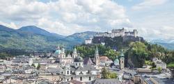 Idyllic panoramic city landscape of Salzburg in Summer