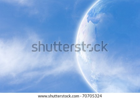 Idyllic peaceful view, planet Earth in space