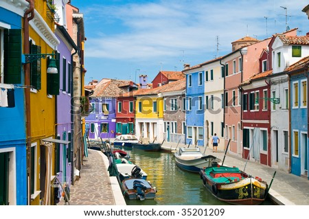 Idyllic Place with colorful houses in Burano Venice