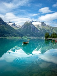 Idyllic scenery in Hjelle, Stryn, Norway. Reflections at its best