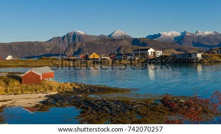 Idyllic scenic view, colorful houses and green field.Sommoroy.Tromso.Norway #742070257