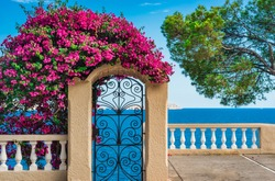 Idyllic sea view of the coastline on Majorca island, beautiful island scenery, Mediterranean Sea, Balearic Islands.