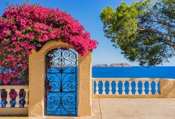 Idyllic sea view of the Mediterranean Sea Spain, at the coastline of Majorca island, Balearic Islands.
