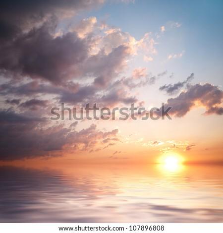 idyllic sunset in sea #107896808