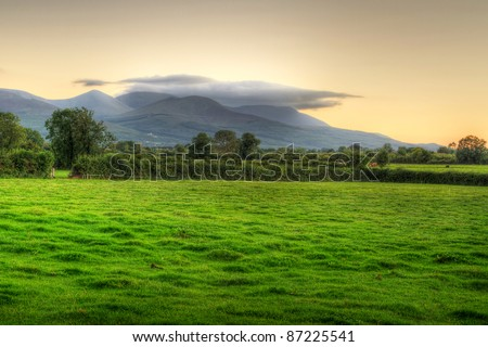 Idyllic sunset scenery over irish meadow