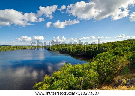 Idyllic Swedish lake in summer time