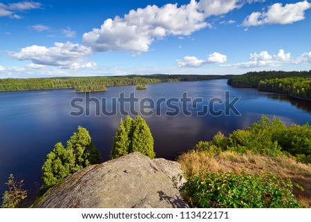 Idyllic Swedish lake in the summer time