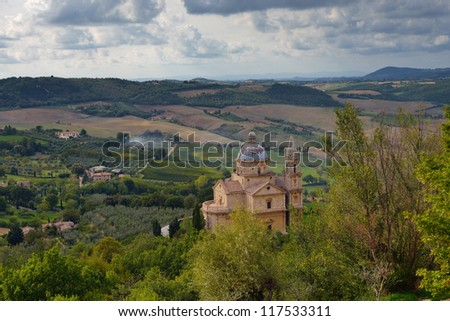 Idyllic Tuscan landscape near Montepulciano at evening time, Vall d'Orcia Italy, Europe