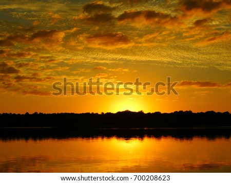 Idyllic view of lake against dramatic sky #700208623