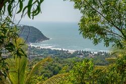 Idyllic view on Indian Ocean : Kudle  beach of Gokarna (Karnataka state) . Palm trees and  idyllic  . Winter in South India