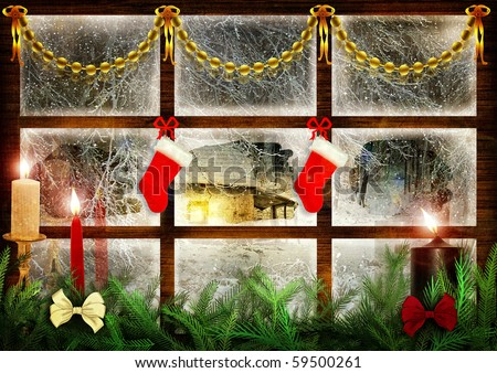 Idyllic view through the window at snowy night, christmas decoration