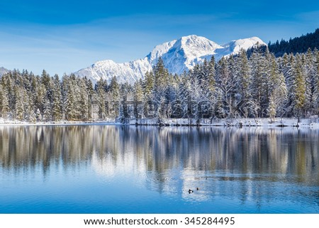 Idyllic white winter wonderland with crystal clear mountain lake in the Alps on a cold sunny day with blue sky #345284495