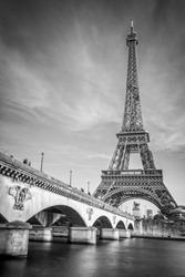 Iena bridge and Eiffel tower, black and white photogrpahy, Paris France