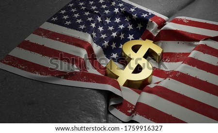 If the U.S. economy were to collapse, it would happen quickly. No one would predict it. The surprise factor is, itself, one of the causes of a collapse 3d rendered illustration Foto stock ©