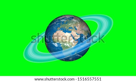 If World has a Saturn rings. Surrealistic 3D rendering, fantasy animation. World with Saturn's ice rings. stock photo