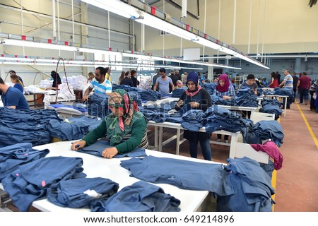IGDIR, TURKEY - MAY 2O, 2017: unidentified workers are working in a textile factory on May 20, 2017 Igdir,Turkey