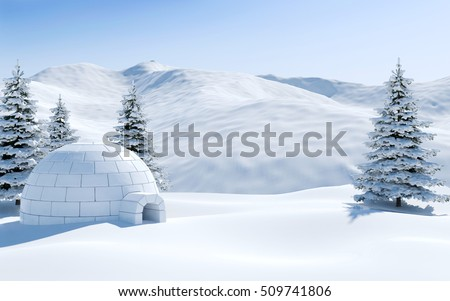 Igloo in snowfield with snowy mountain and pine tree covered with snow, Arctic landscape scene, 3D rendering Stock photo ©