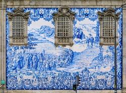 Igreja do Carmo Church of Carmelites built in 18th century with ornate tiled side facade decorated with Portuguese azulejo tiles in Porto, Portugal