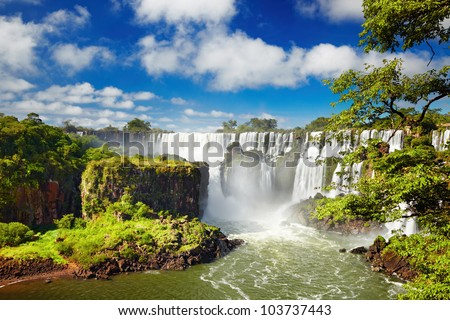 Shutterstock Iguassu Falls, the largest series of waterfalls of the world, located at the Brazilian and Argentinian border, View from Argentinian side
