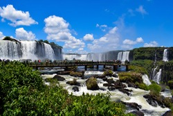 Iguazú Falls are a group of waterfalls located on the Iguazú River, on the border between the province of Misiones and the Brazilian state of Paraná.