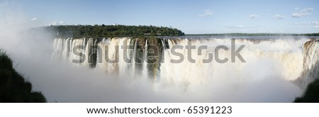 Iguazu falls from Argentina, panoramic view