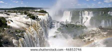 Iguazu falls in border between brazil and Argentine
