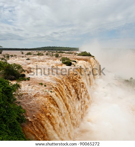 Iguazu Falls, UNESCO World Heritage Sites, and a New 7 Wonders of the world. View from the Brazilian side - stock photo