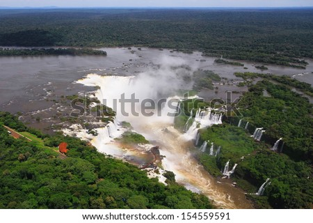 "Iguazu waterfalls, the most famous in the world. ""Devil's Throat"" was photographed from a helicopter"