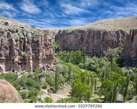 Ihlara valley, Cappadocia, Central Anatolia, Turkey. Cappadocian Region with its valley, canyon, hills located between the volcanic mountains Erciyes, Melendiz and Hasan. #1029789286